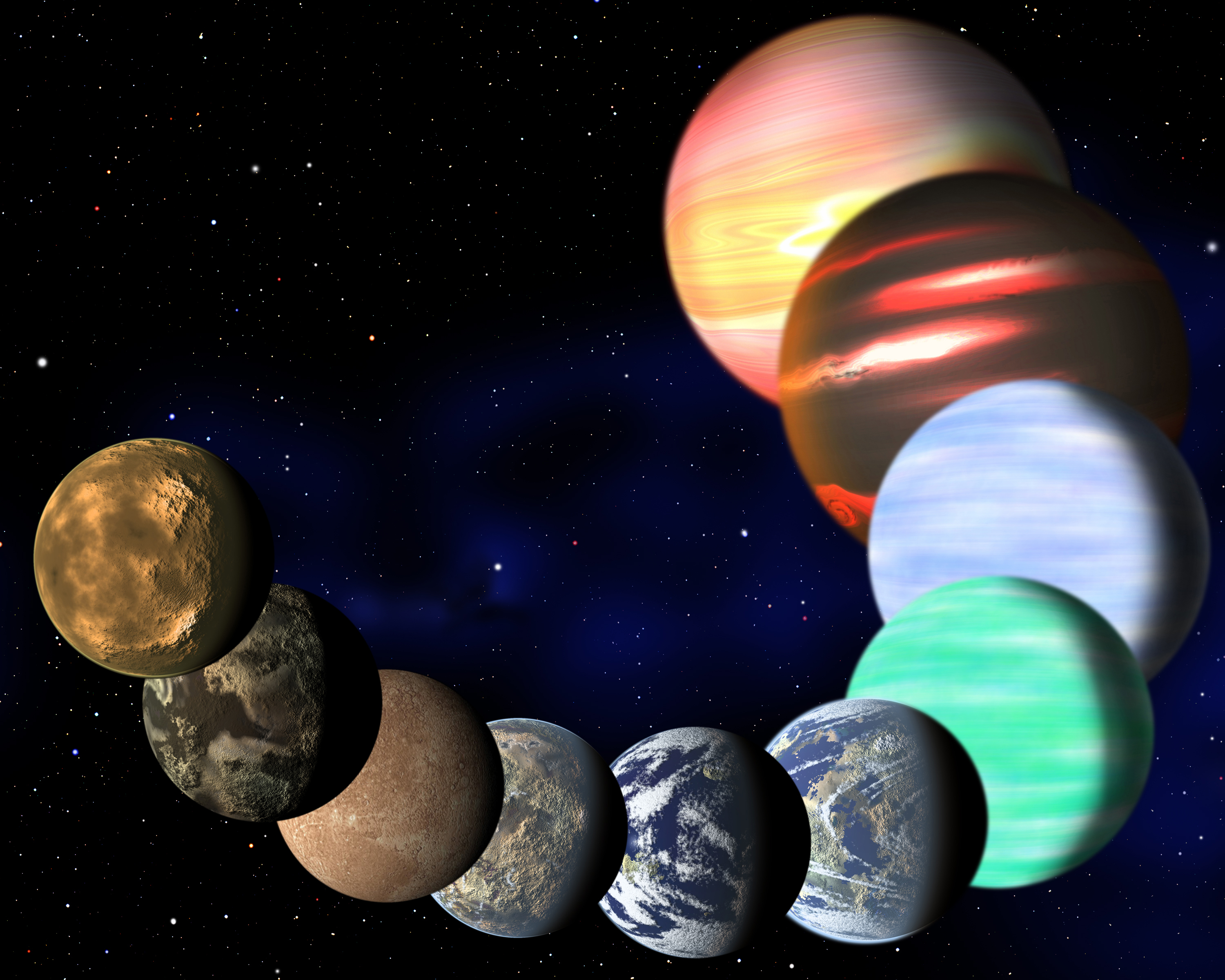 An image of a variety of exoplanets
